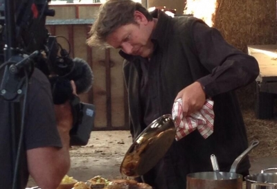 James Martin cooking in the barn for his new BBC series